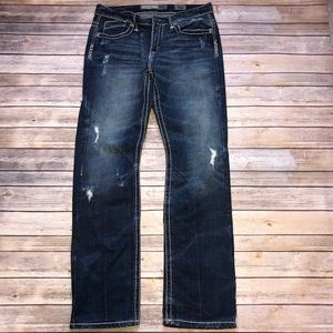 BKE Carter Straight Distressed Thick Stitch Jeans